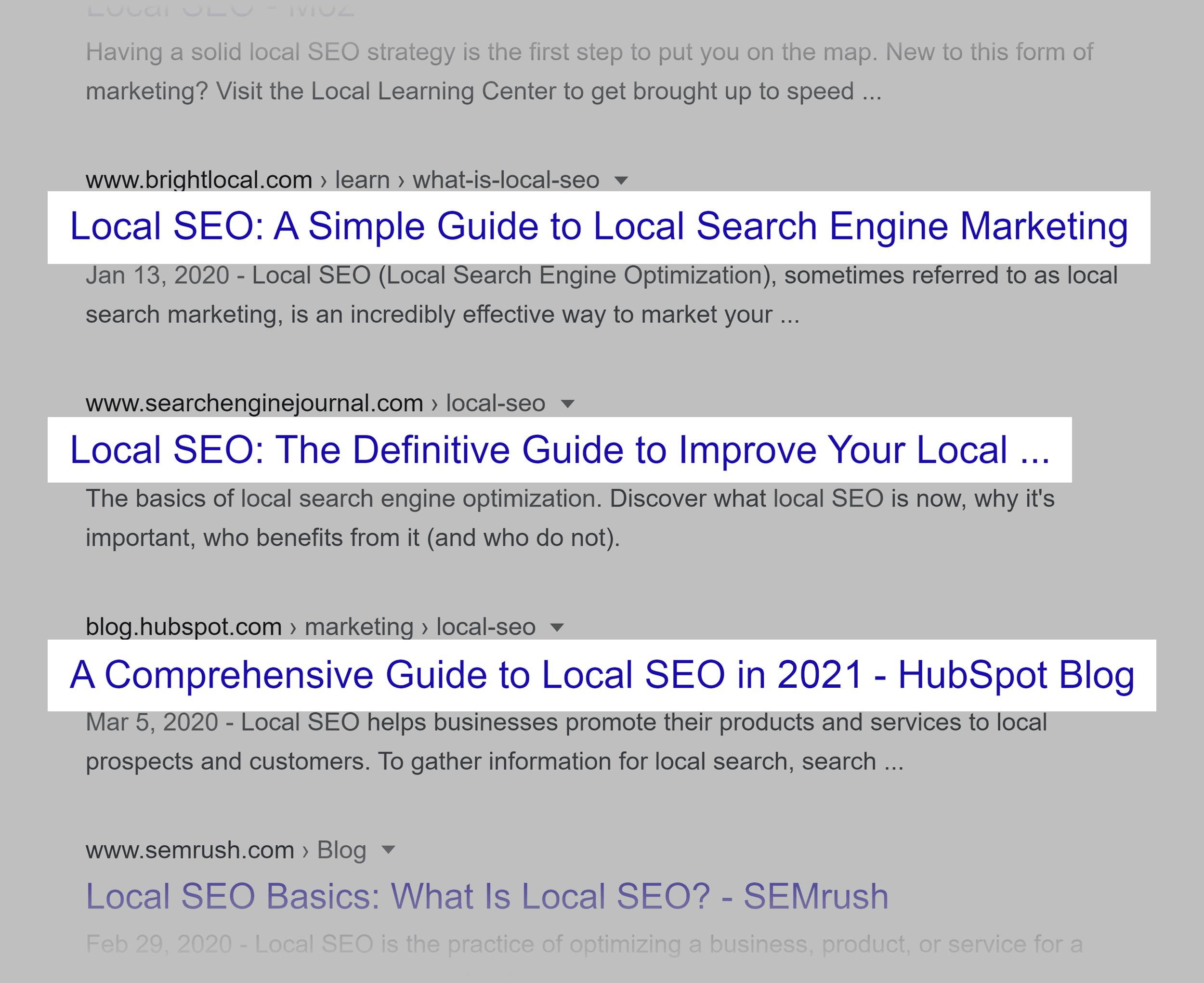 Google SERP – Local SEO – Guides