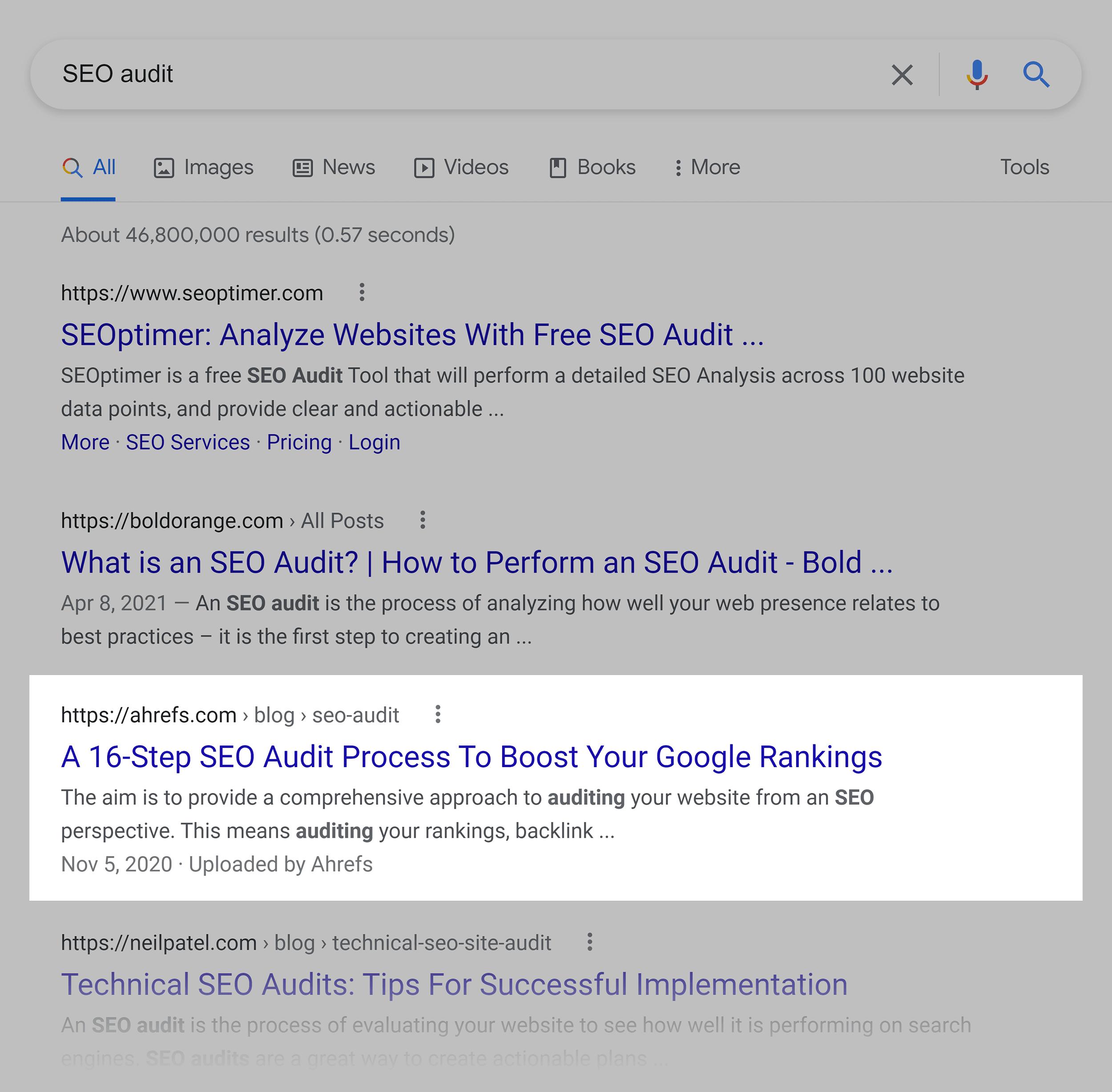 Google SERP – Ahrefs SEO audit post
