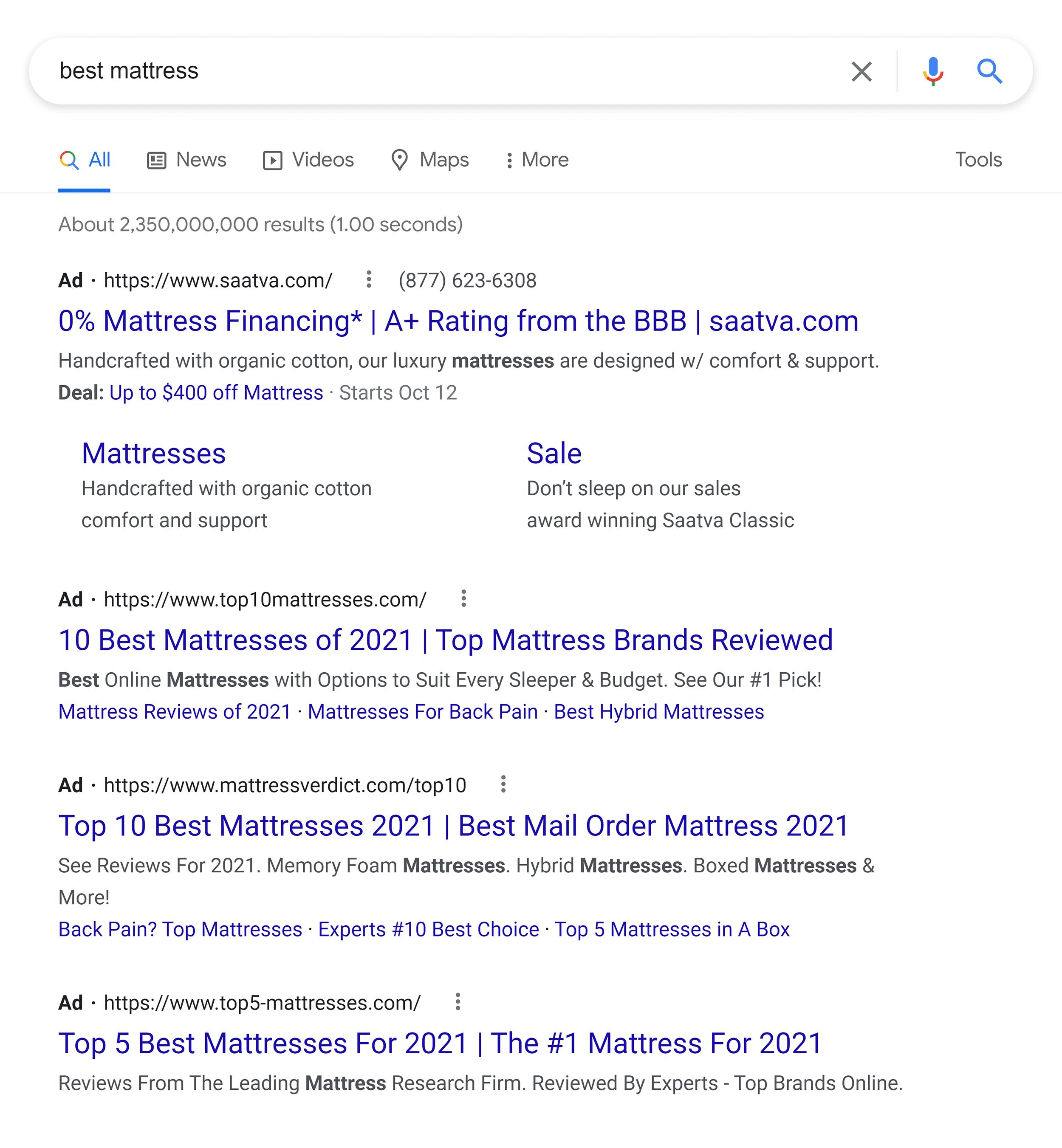 Google SERP – Best mattress – Ads
