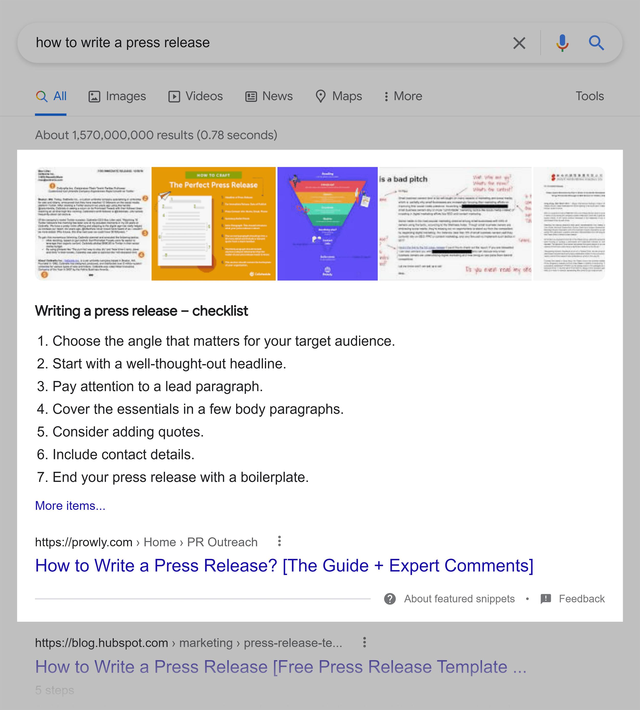 Google SERP – Featured snippet