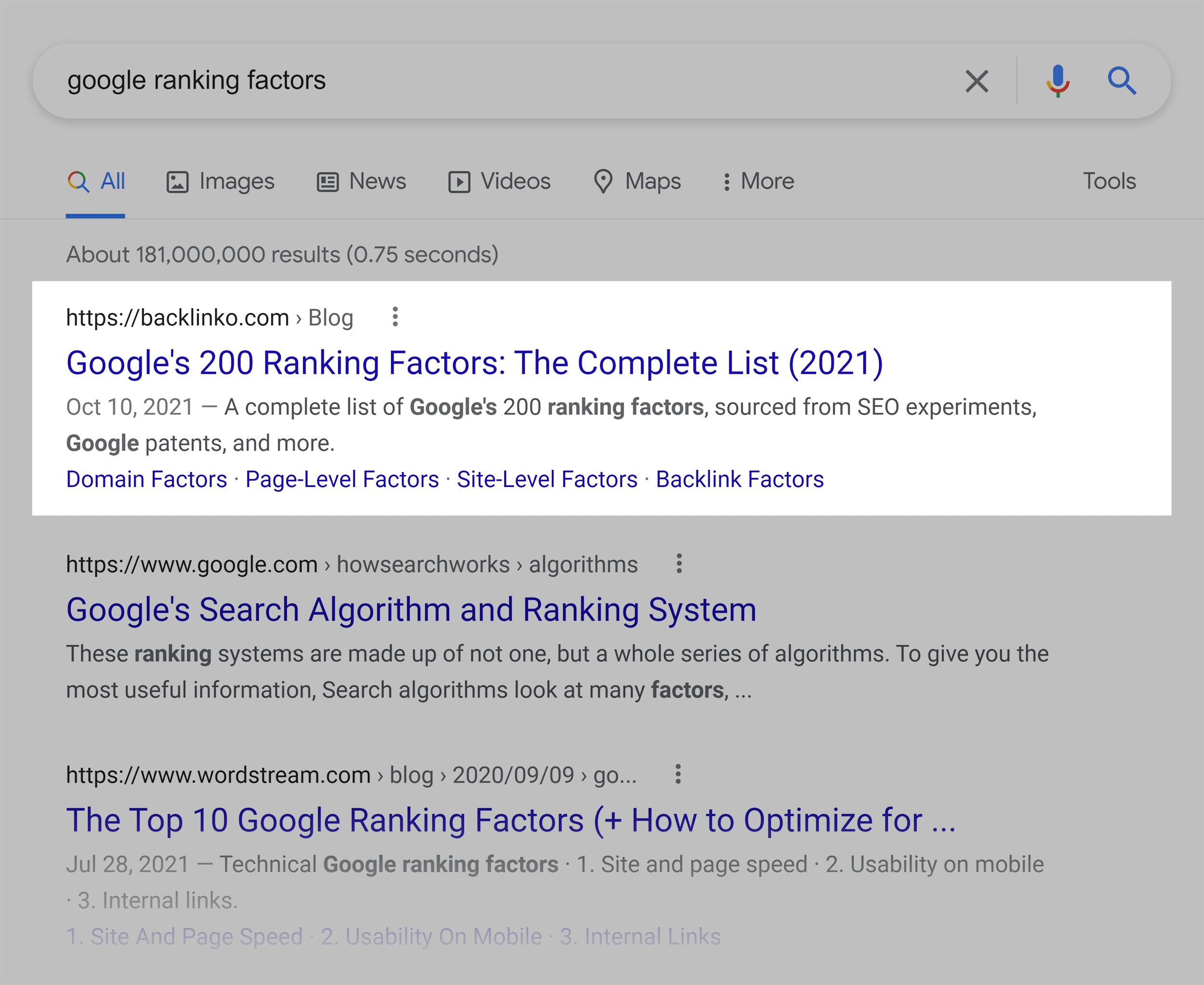 Google SERP – Google ranking factors