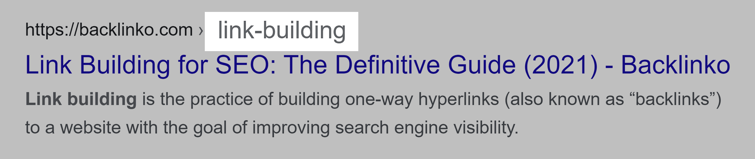 "Google SERP – ""Link building"" in URL"