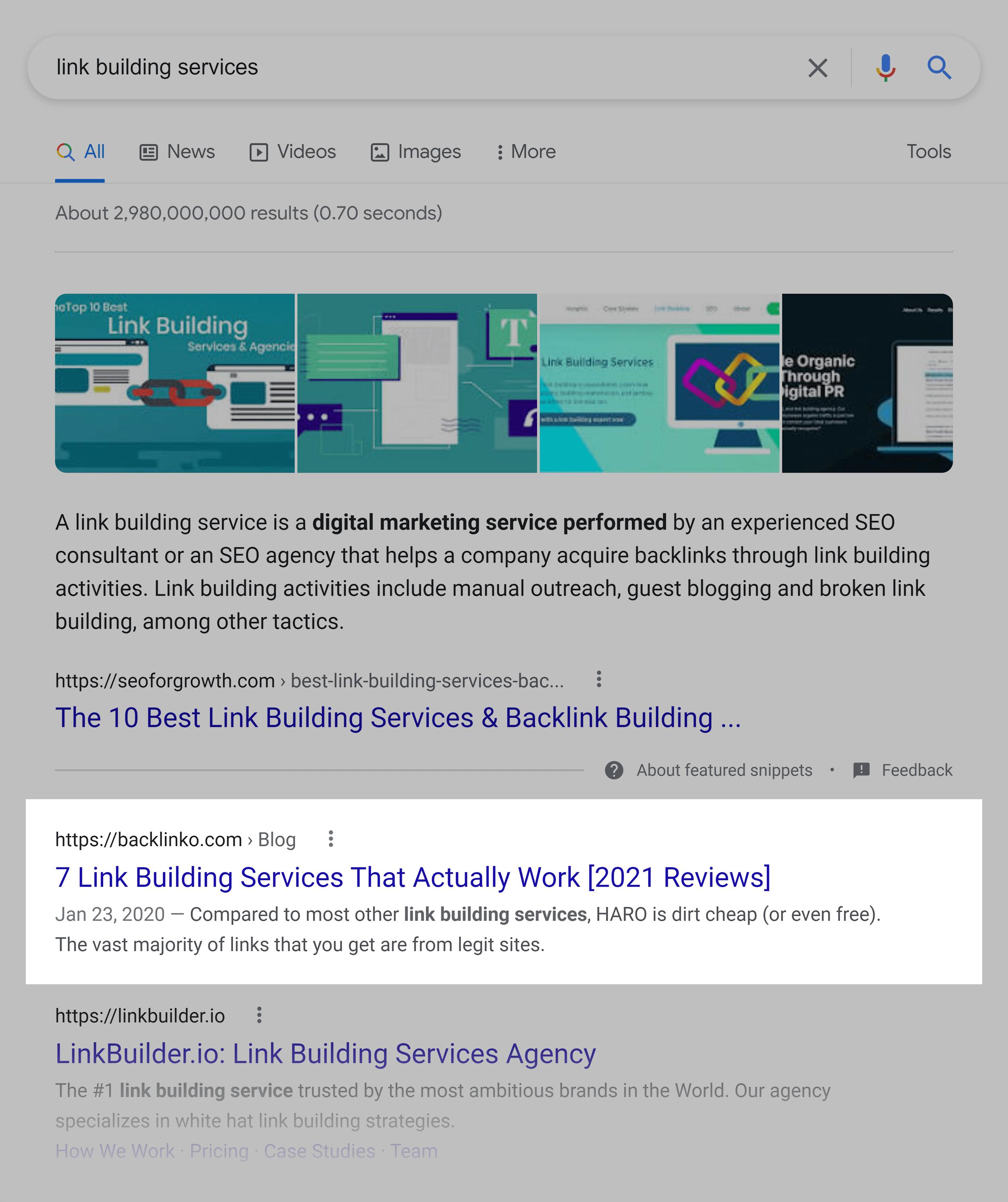 Google SERP – Link building services
