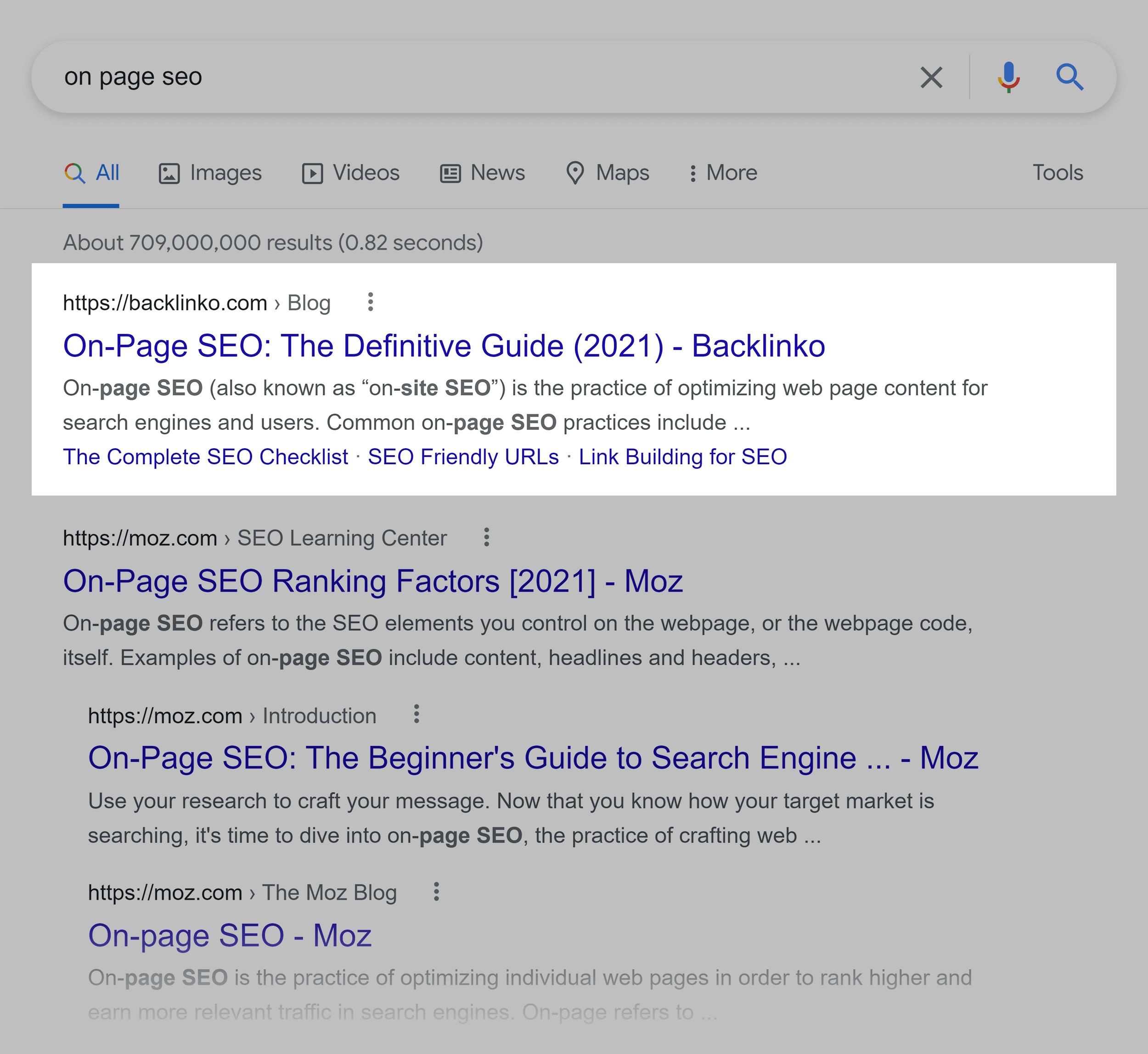 Google SERP – On page SEO