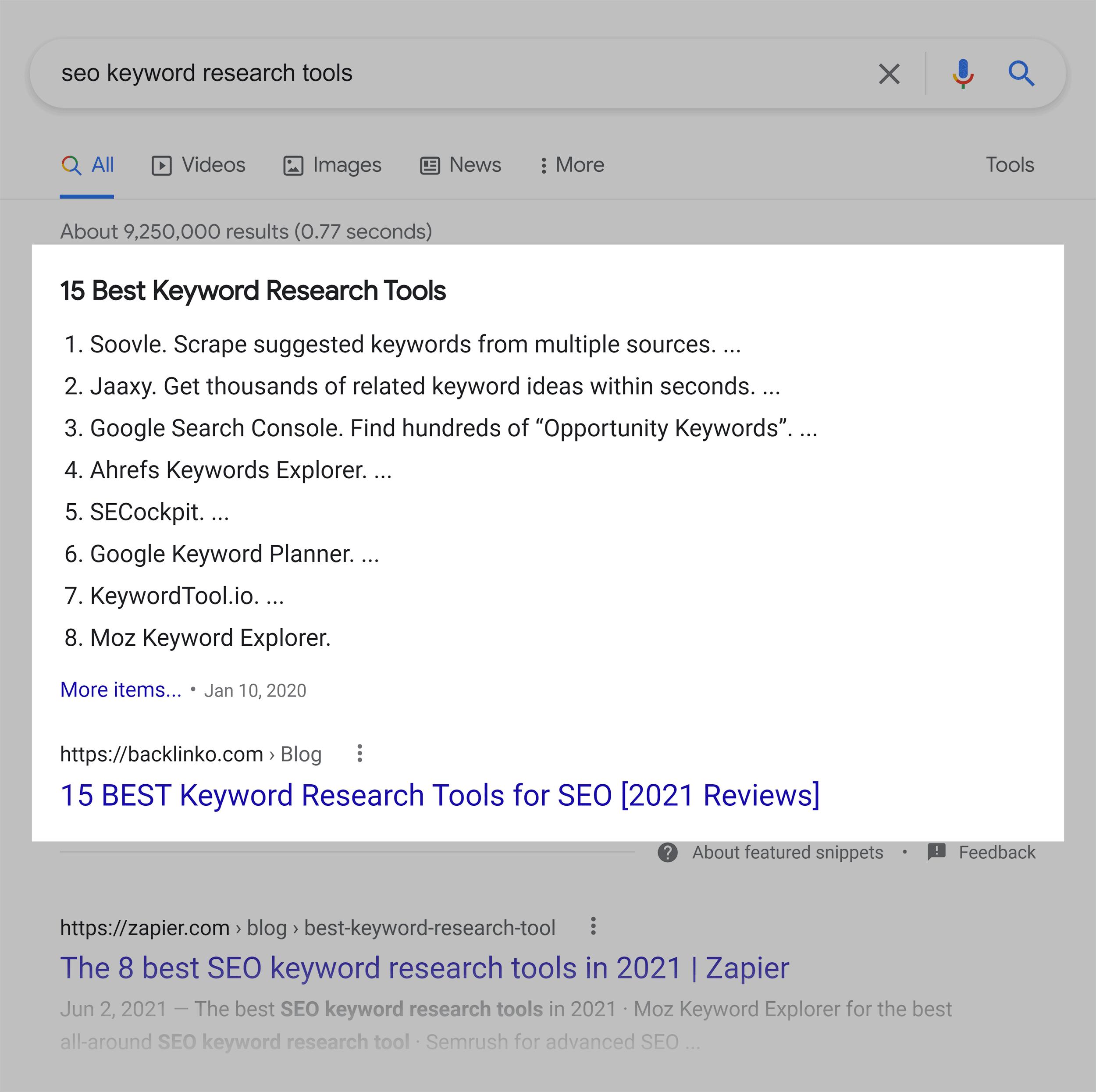 Google SERP – SEO keyword research tools