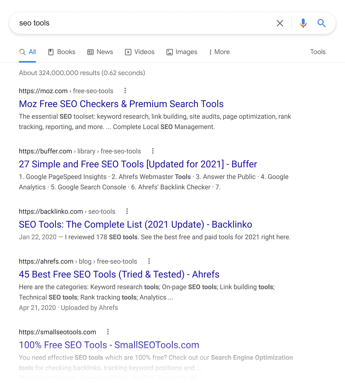 Google SERP – SEO tools