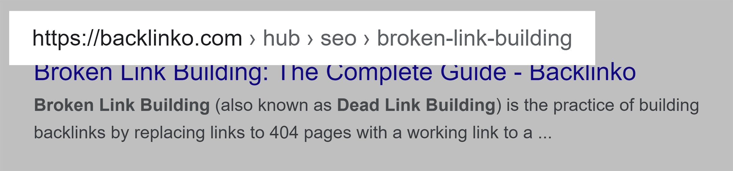 Google SERP – URL structure – Desktop