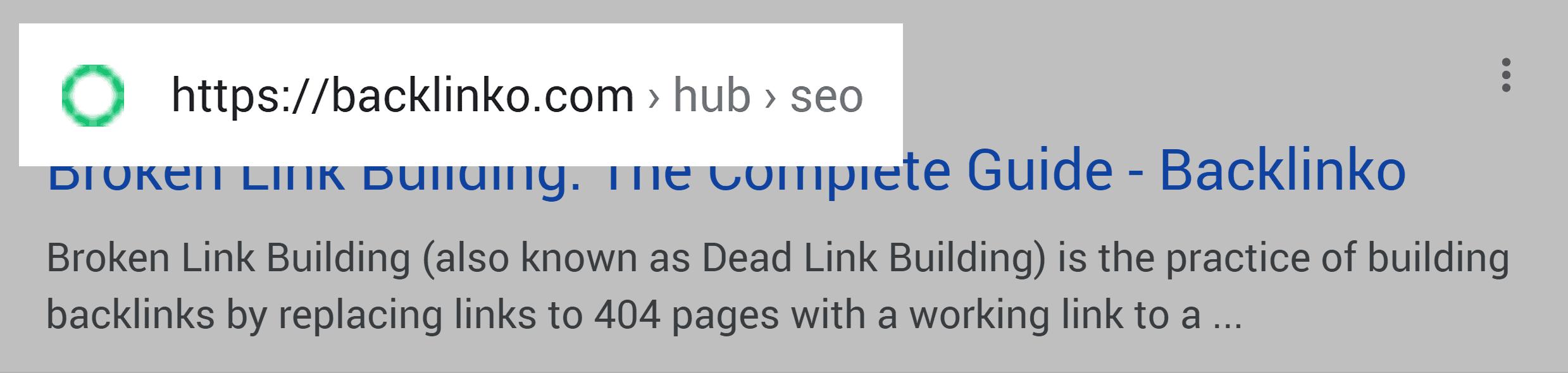 Google SERP – URL structure – Mobile