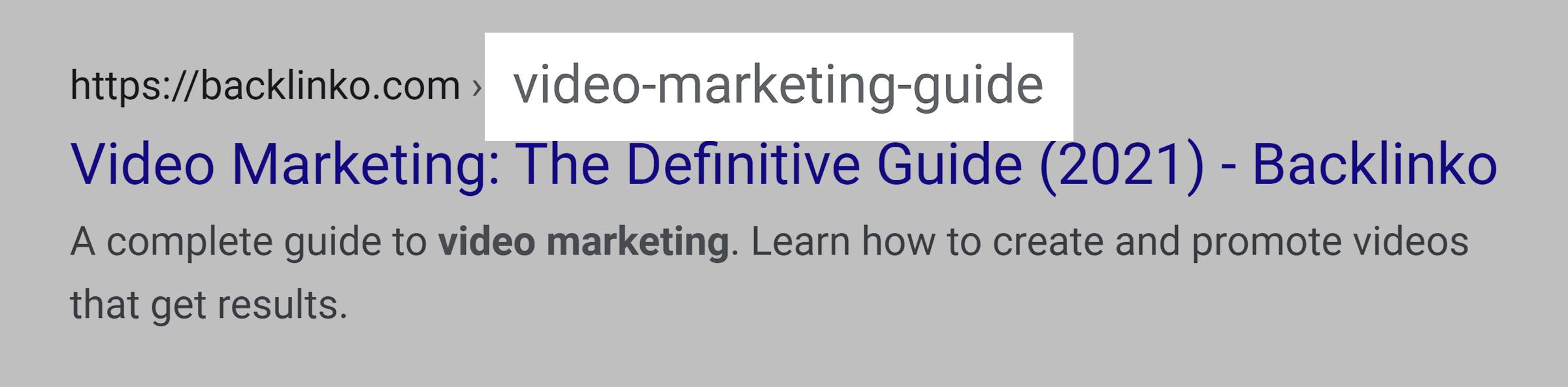 "Google SERP – ""Video marketing"" in URL"