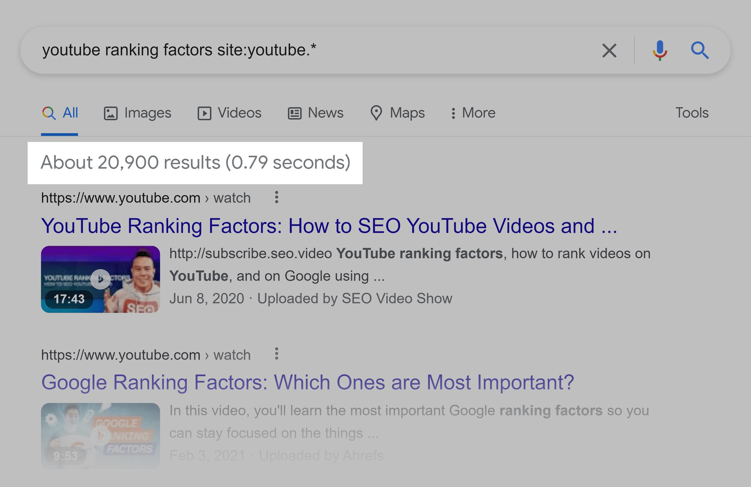 Google SERP – Videos – YouTube ranking factors