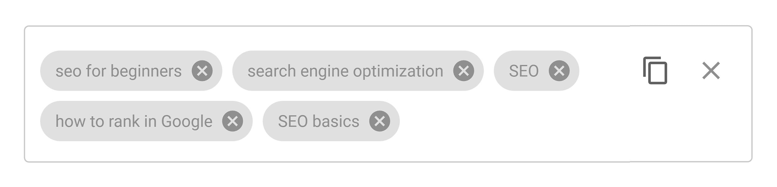 Keyword in video tags