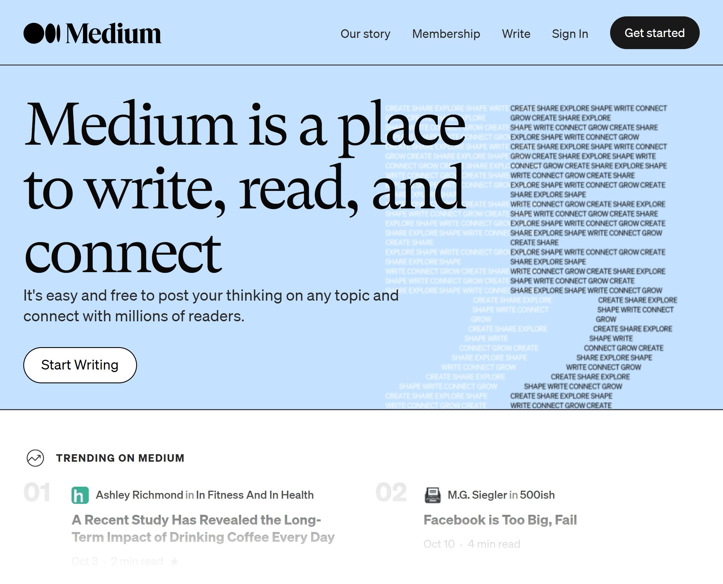 Medium – Homepage