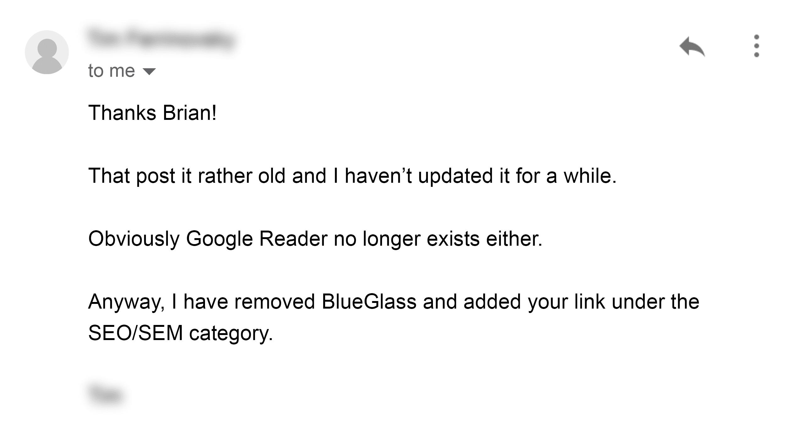 Outreach email reply – BlueGlass