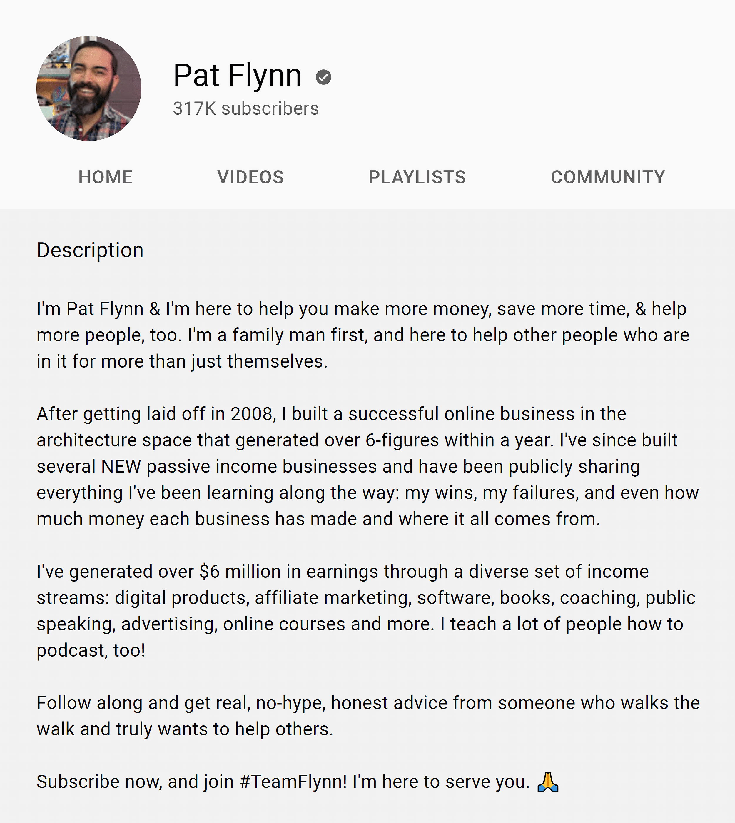 Pat Flynn about section