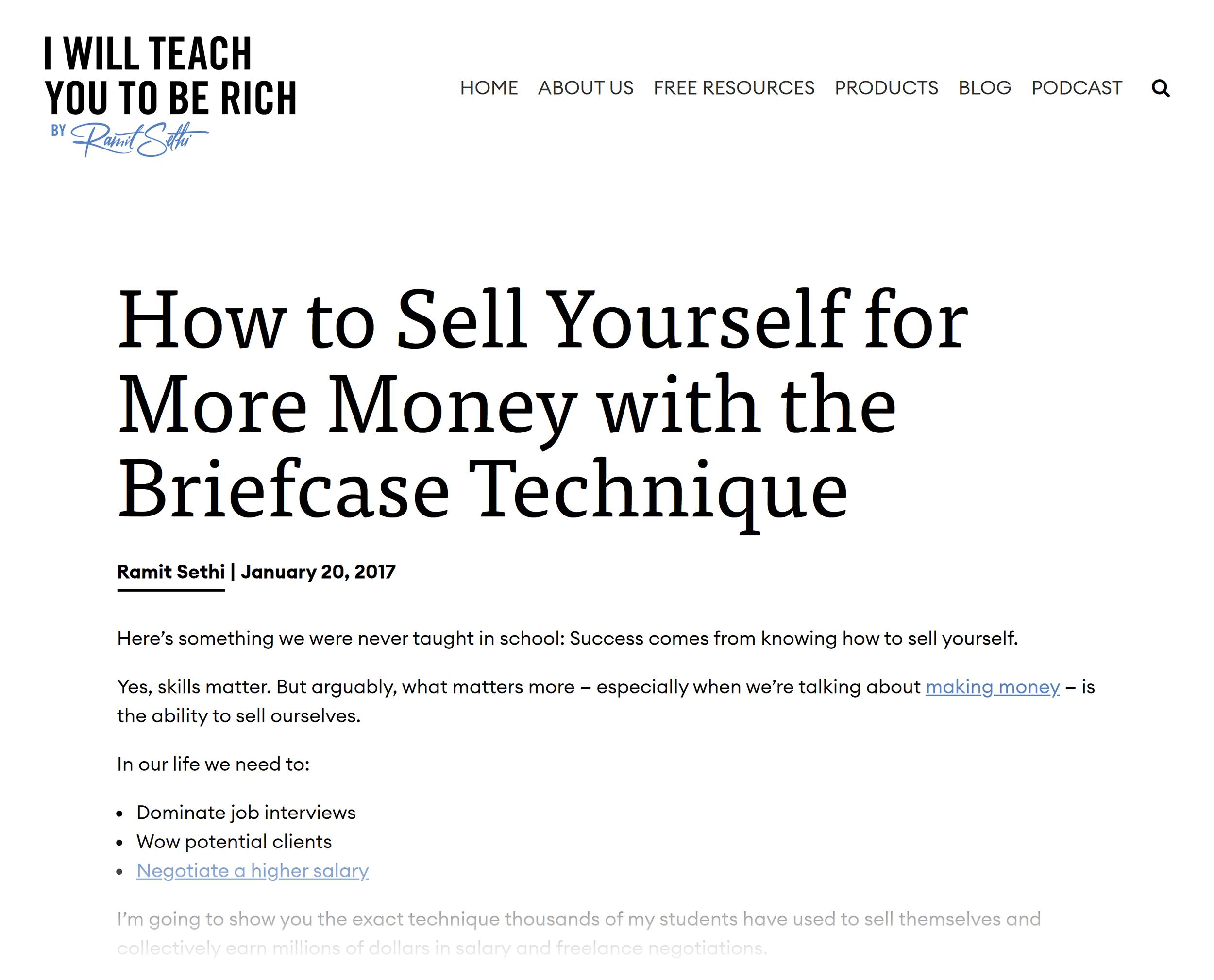 Ramit Sethi – The briefcase technique