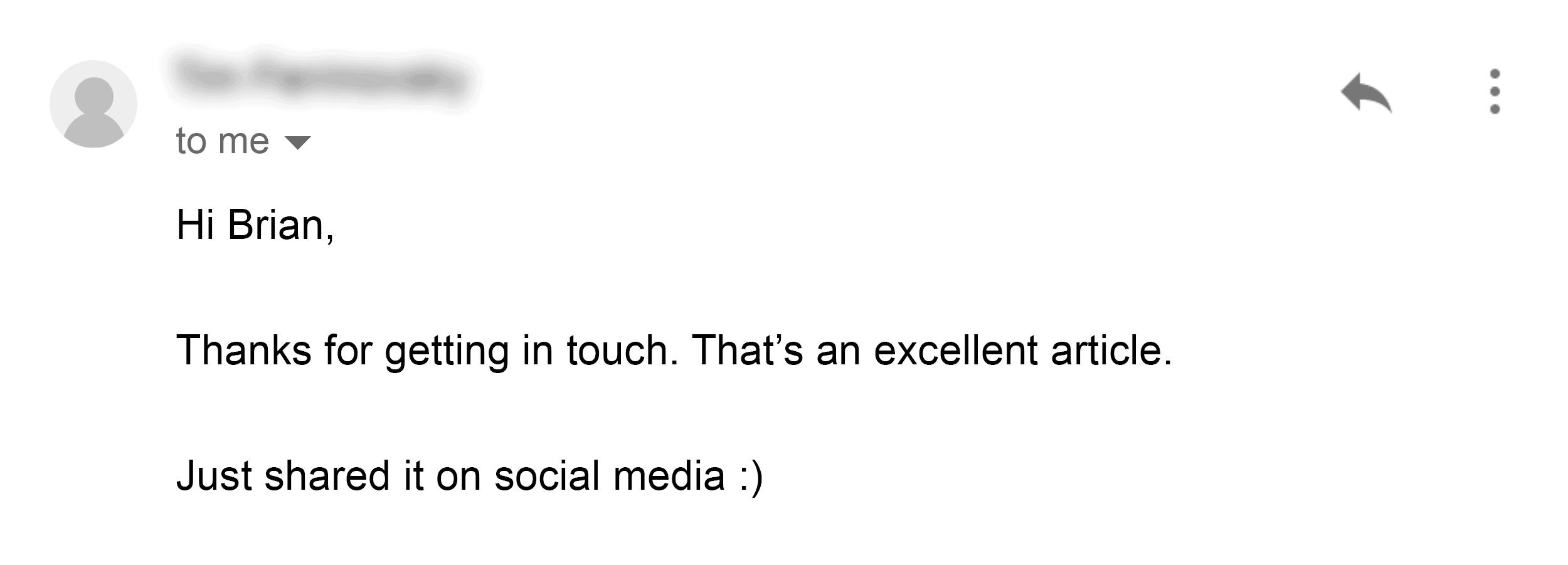 Skyscraper Technique – Outreach email reply