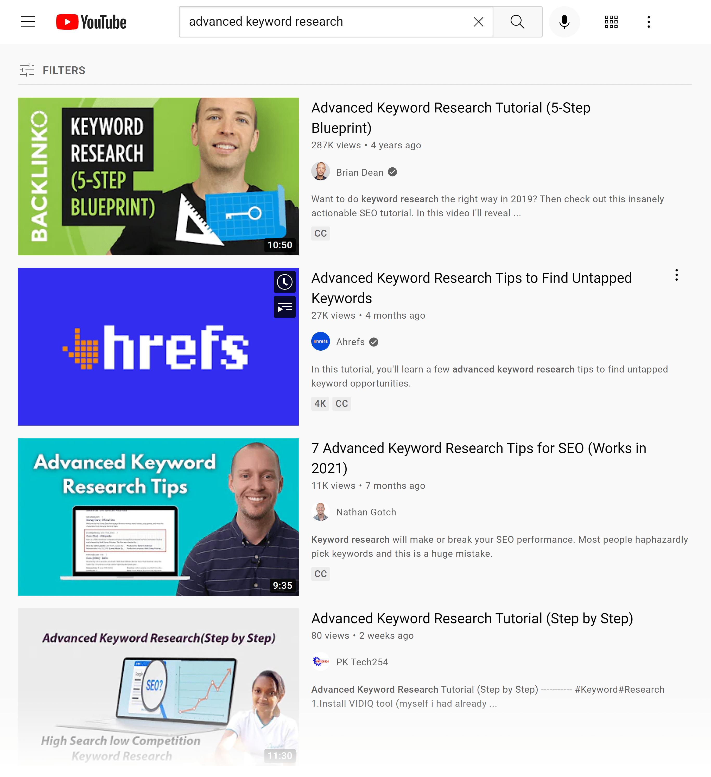 YouTube SERP – Advanced keyword research