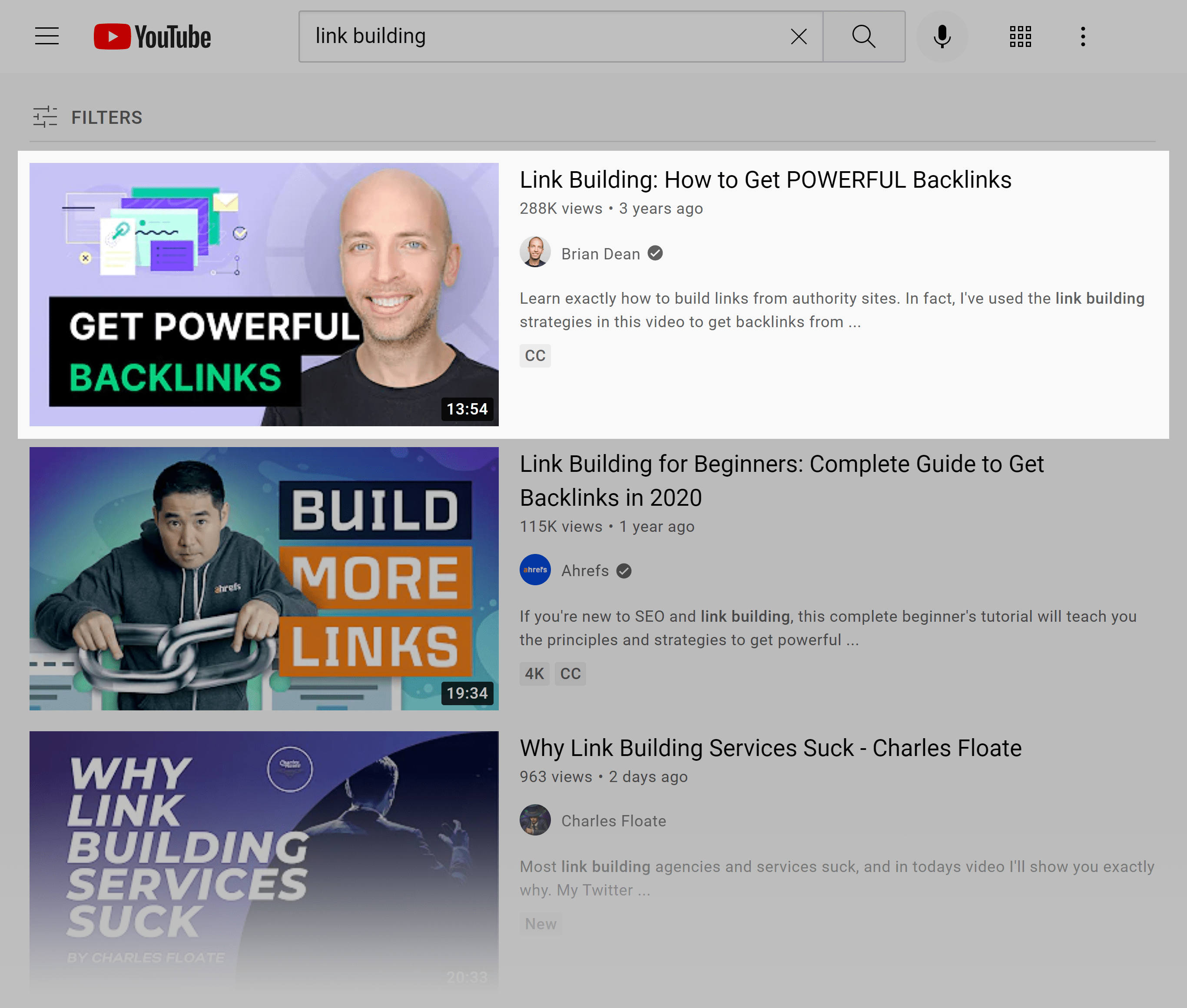 YouTube SERP – Link building