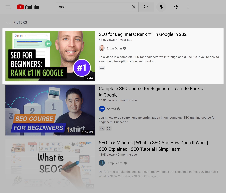 YouTube SERP – SEO