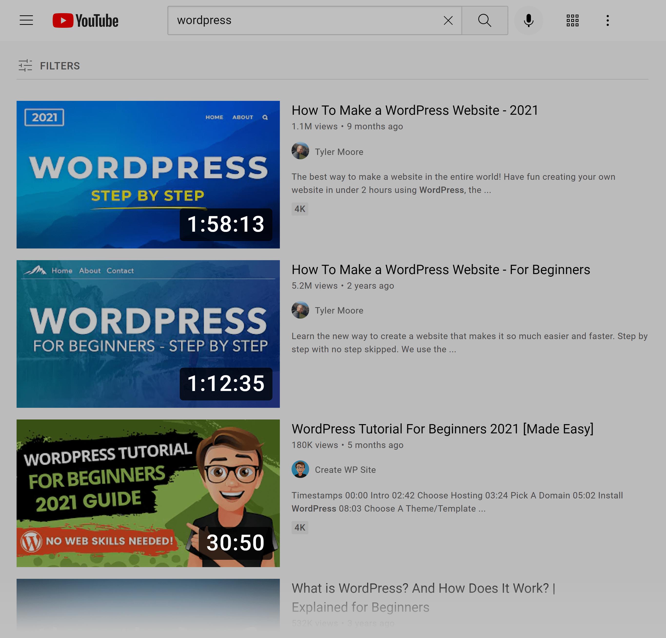 YouTube SERP – Wordpress