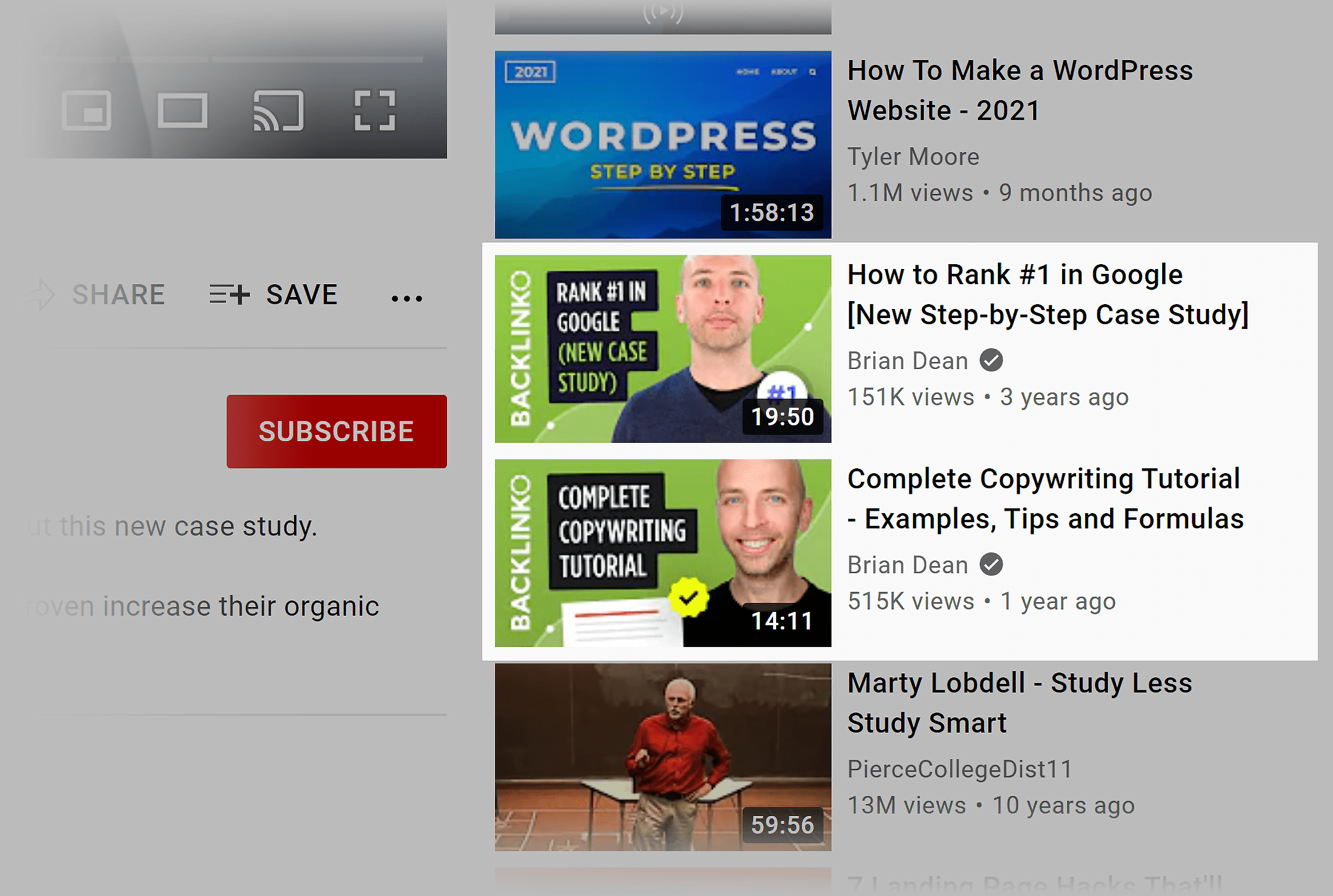 YouTube – Suggested videos